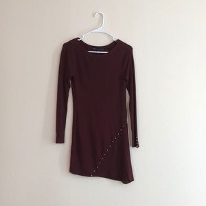 Size XS Maroon Long Sleeve Dress with gold detail